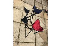 Camping stools - blue and red - comes with carry bags