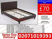 **70 % OFF** BRAND NEW DOUBLE LEATHER BED AND MATTRESS Osgood