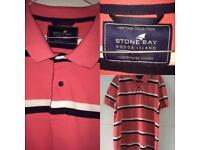 M&S Stone Bay Heritage Collection Men's Polo Shirt Pink White Black New Without Tags 2XL