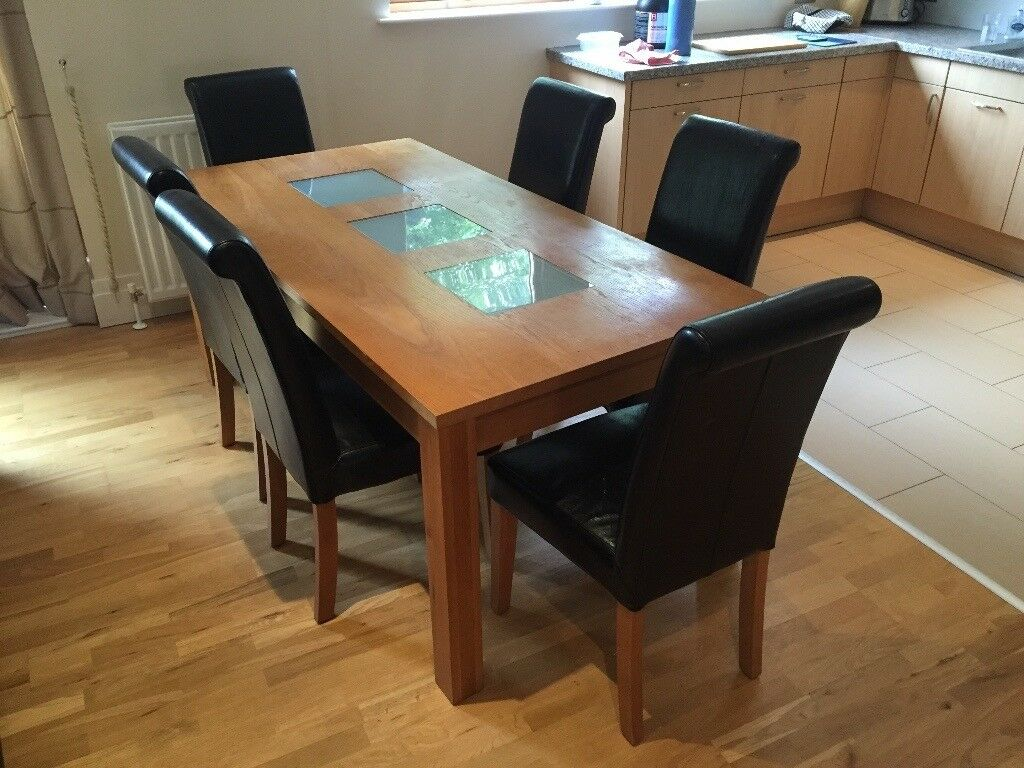 Solid Oak Dining Table With 6 Leather Bound Chairs For Sale