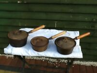 Three Cast Iron Saucepans