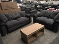 Brand new 3 + 2 seater grey chorded sofa suite