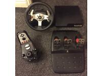SONY PS3 160GB WITH LOGITECH G25 STEERING WHEEL + GEAR SHIFTER + PEDALS