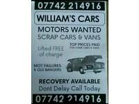 Scrap cars and vans wanted top prices paid on collection