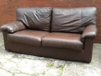 3 seater sofa chocolate brown colour £99 free local delivery real leather