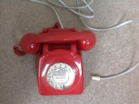 Red Vintage 1970's Telephone - REDUCED
