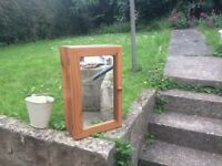 Wooden bathroom cabinet with mirror
