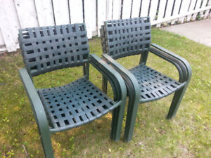 Patio Chairs and White Glass Patio Table Stony Plain