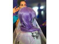 Very long light purple wig