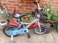 boys 14 inch wheel rocket man apollo bike with stabilizers