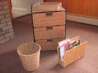 Rattan Study Set ( 3 drawer storage chest, paper basket, tray, and magazine rack)
