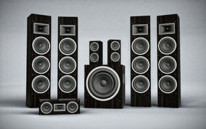 large selection of speakers, receivers and stereo chain