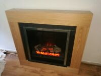 Oak Veneer Electric Fireplace