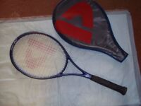 tennis racket and holdall