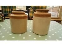 Glazed two tone earthenware storage pots