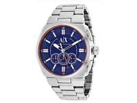 Armani Exchange Men's 48mm Blue Chronograph Dial Watch With Silver Bracelet - AX1800