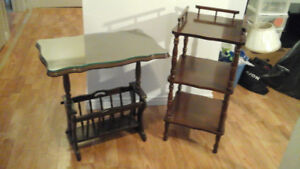 antique phone stand and antique magazine coffee table