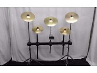 Pearl square drum rack on two cymbal stands with accessories