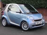 2011 Smart ForTwo 1.0 CABRIO PASSION MHD 71BHP, SAT NAV, BLUE, PAN ROOF, LEATHER