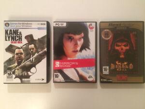 Jeux PC Mirror's edge / Diablo II / Kane & Lynch Dead men