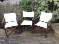 3 Garden Wooden Chairs | Director Style | £15
