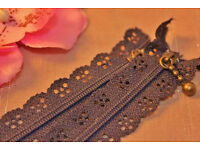 2 New Floral Lace Scalloped Edge Navy Blue 20cm Close End Zip Zippers.