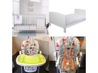MOTHERCARE COT BED, WATERPROOF MATTRESS & 2 x DUVETS AND HIGH CHAIR