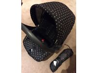 Mamas & Papas travel system, pram, pushchair, carrycot, car seat, parasol, raincovers, cosy-toes