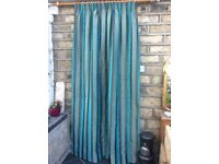 Beautiful teal/brown stripe, brand new custom made door/single curtain 54 inches W x 90 inches L
