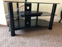 Sturdy Black Glass TV Stand