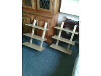 two matching shelf units polished wood
