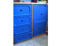 Children's ikea wardrobe. Blue. With drawers.