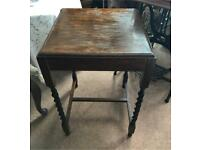Antique small side table With barley twist legs