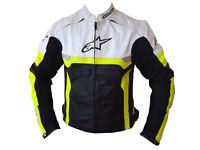 Alpine Stars Leather Jacket Biker/Bike Jacket Custom made Cow Hide Leather with padding