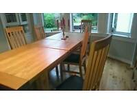 Oak dining table + chairs