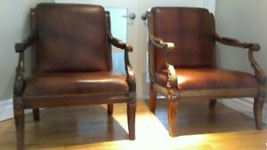 CHAISES CUIR ITALIEN STYLE LOUIS PHILIPPE ''VOLTAIRE''