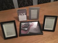 Five black and silver stylish photo frames, 6x4 or 7x5, very good condition, all for £8