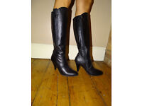Womens Leather Heel Black Boots Size UK 5
