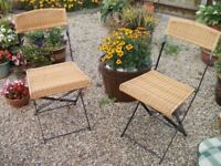 PAIR OF BISTRO CHAIRS - WROUGHT IRON FRAMES (FOLDABLE)