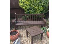 Wooden garden bench & table