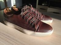 Luxurious Lanvin mens brown leather sneakers, 43 / uk8, rrp £420