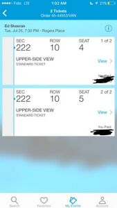 ED SHEERAN PAIR OF TICKETS JULY 25 EDMONTON