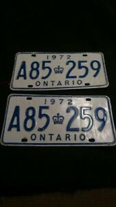 Set Of 2 1972 Ontario License Plate