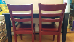 Solid wood sturdy table and 3 chairs