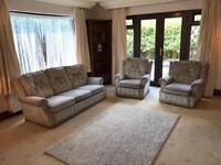 Velvet Reversible 3 Seater Sofa + 2 Armchairs Good Condition