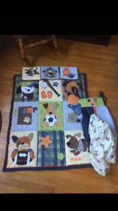 Boys sports puppy themed bedding