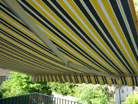 Garden Awning 3.5Mtr wide x 2.5 mtr deep Mulitistripe grey yellow/white