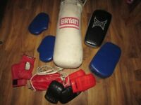 Boxing job lot speedball punch ball & punch bag & gloves and pads