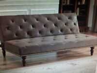 Vintage Faux Suede Leather Brown Sofa Bed Elegant Classic Style With Gold Stud Detail RRP £249