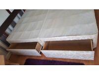 Sealy 4 drawer double divan with hardwood headboard